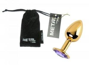 Metal Gold klasyczna mała wtyczka analna z fioletowym kryształkiem