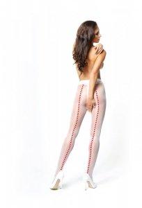 MissO białe rajstopy ze szwem z serduszek i otworkiem w kroku roz.S/M