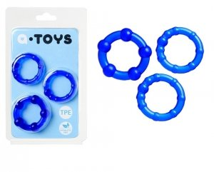 A-Toys Blue zestaw trzech ringów na penisa
