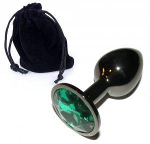 Metal Dark Silver klasyczna mała wtyczka analna z zielonym kryształkiem