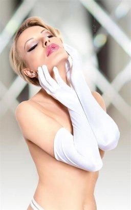 Białe długie erotyczne rękawiczki Satin Gloves