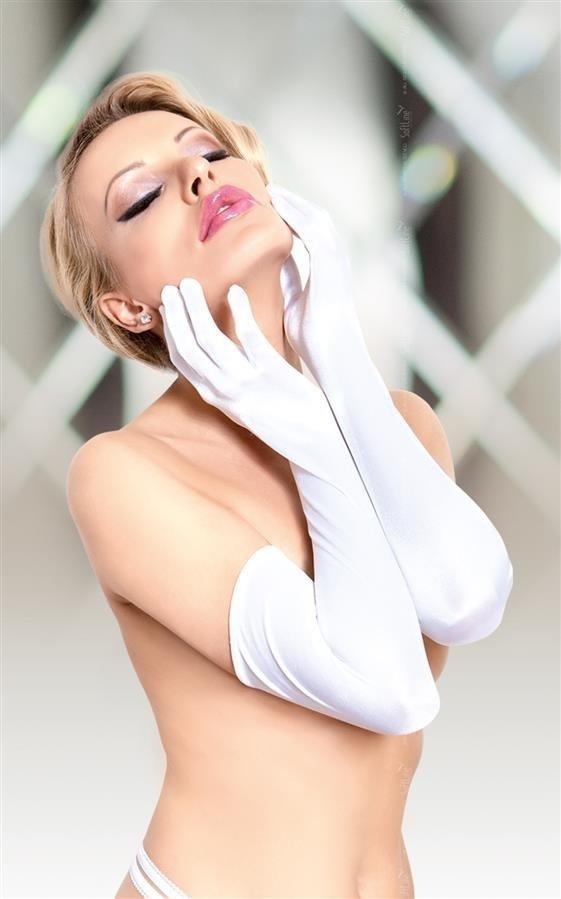 Białe rękawiczki Gloves satin