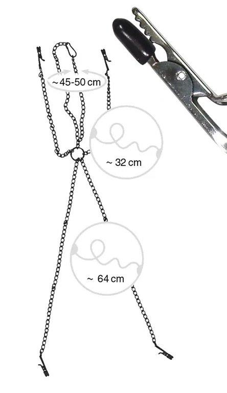 Fetish Nipple&Clit Clamps - ciężki łańcuszek z zaciskami na sutki i genitalia wymiary