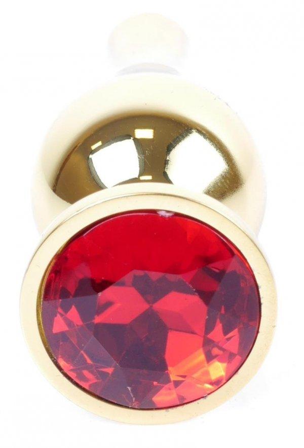 Metal Gold klasyczna wtyczka analna z czerwonym kryształkiem