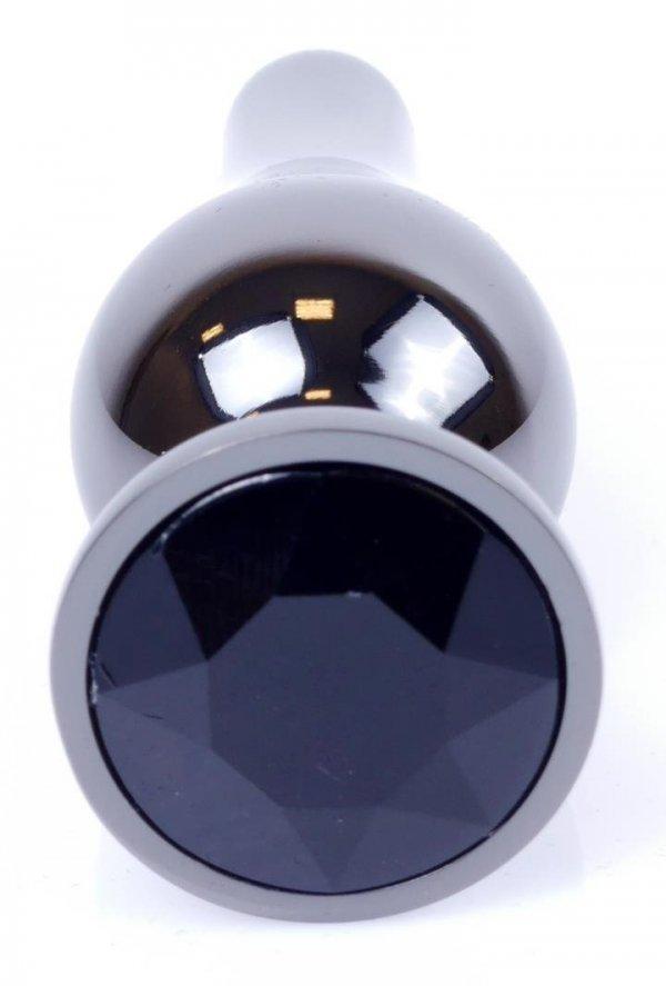 Metal Dark klasyczna wtyczka analna z czarnym kryształkiem