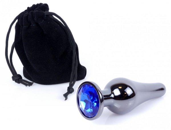 Metal Dark klasyczna wtyczka analna z niebieskim kryształkiem