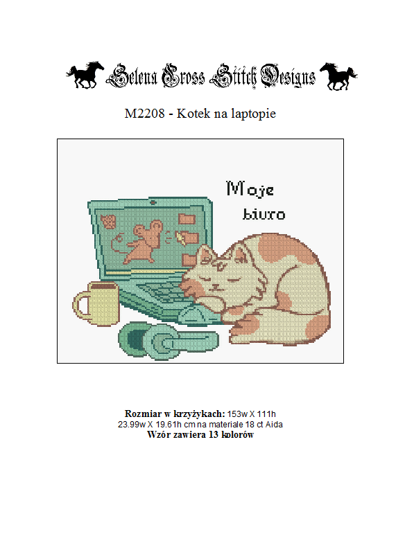 Wzór do haftu M2208 - kotek na laptopie