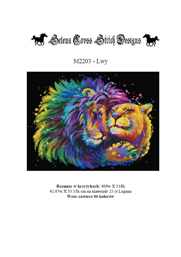 wzór do haftu lwy