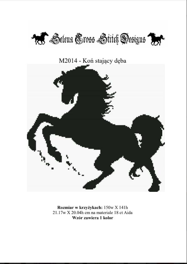 koń stający dęba wzór do haftu