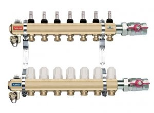 Rozdzielacz 1 CAL 8 obwodów z przepływomierzami i zaworami termostatycznymi FERRO