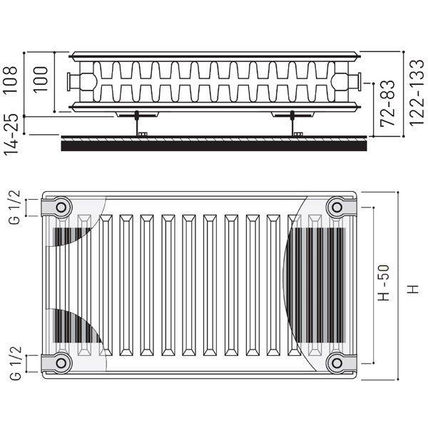 Grzejnik stalowy FERRO C22 600x1000