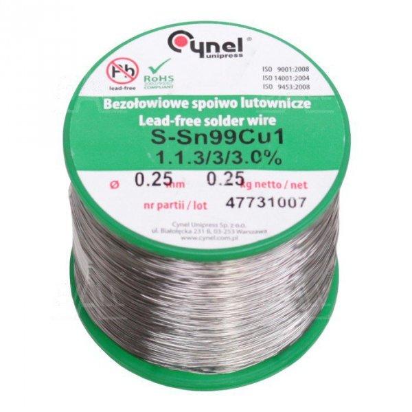 Cyna-spoiwo SN99C 0.25/0.25 Sn99Cu1 0.25mm/0.25kg Cynel