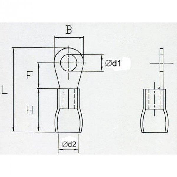 OKB4 Końcówka oczkowa izol. M4 100szt