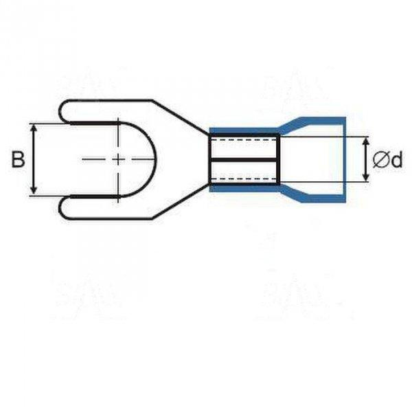 ZKW12-6.5R Końcówka widełkowa złocona M6,