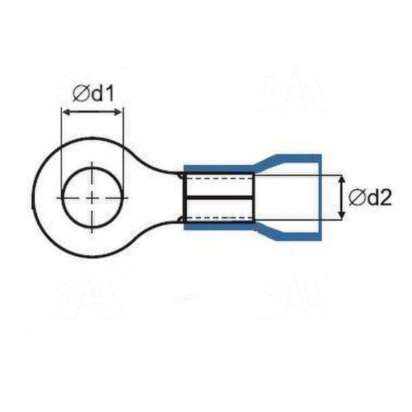 ZKO-16mm2/8.5 BK Końcówka oczkowa złocona M8