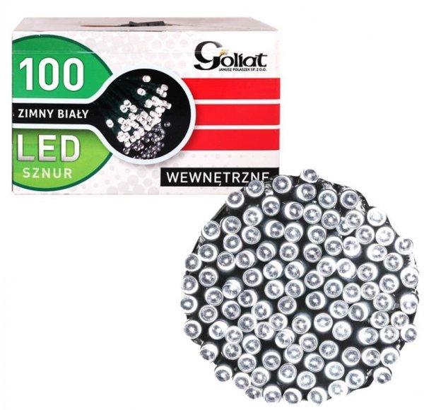 LAMPKI CHOINKOWE 100 LED WEWNĘTRZNE BIAŁE ZIMNE SZNUR