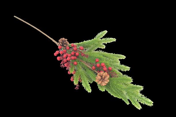 Gałązka dekoracyjna zielona z czerwonymi owocami i szyszkami 70 cm