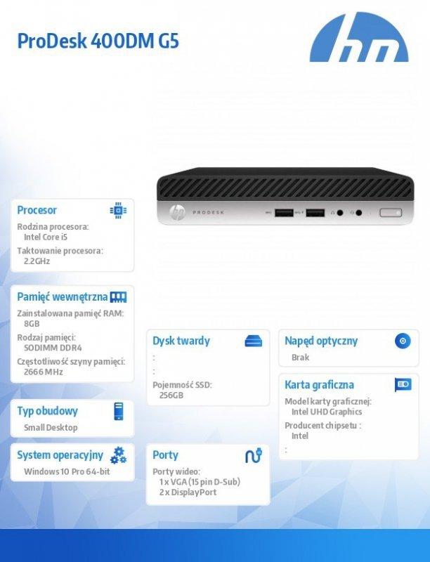 HP Inc. Komputer ProDesk 400DM G5 i5-9500T 256/8GB/W10P     7EM45EA