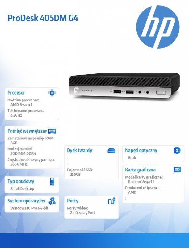 HP Inc. Komputer ProDesk 405DM G4 R5-2400GE 256/8GB/W10P  6XB53EA