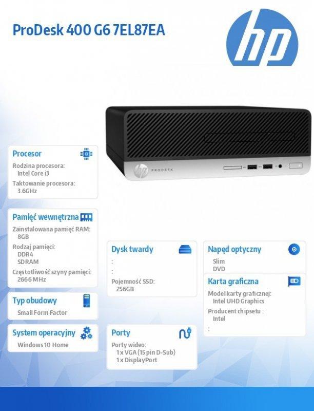 HP Inc. Komputer 400SFF G6 i3-9100 256/8G/DVD/W10P  7EL87EA