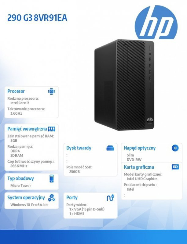 HP Inc. Komputer 290MT G3 i3-9100 256/8G/DVD/W10P 8VR91EA