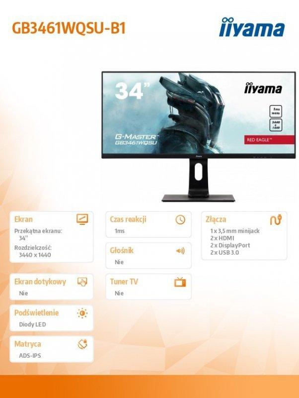 IIYAMA Monitor 34 cale GB3461WQSU-B1 IPS,UWQHD,144HZ,1MS,USB3.0,2xHDMI,2xDP.