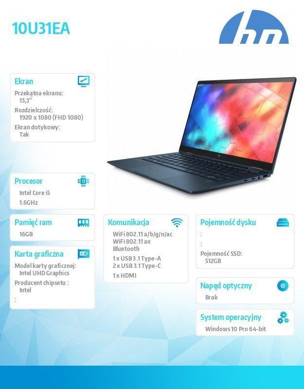 HP Inc. Laptop Elite Dragonfly W10P i5-8265U/512/16G 10U31EA