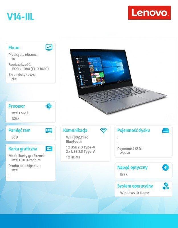 Lenovo Laptop V14-IIL 82C400A8PB W10Home i5-1035G1/8GB/256GB/INT/14.0 FHD/Iron Grey/2YRS CI