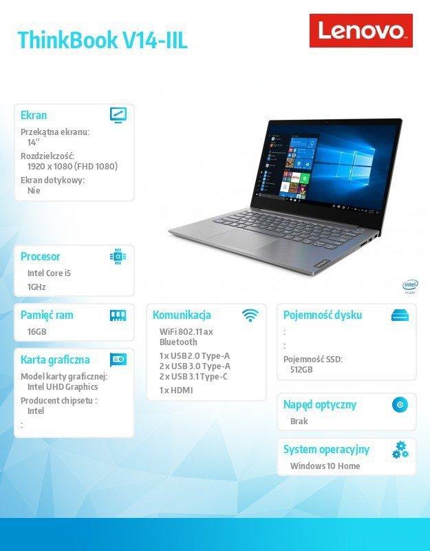 Lenovo Laptop ThinkBook 14-IIL 20SL00LBPB W10Home i5-1035G1/16GB/512GB/INT/14.0 FHD/Mineral Grey/3YRS OS