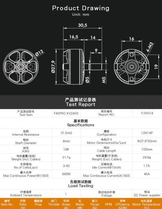 Zestaw dwóch silników bezszczotkowych T-MOTOR F40PRO 2400kV