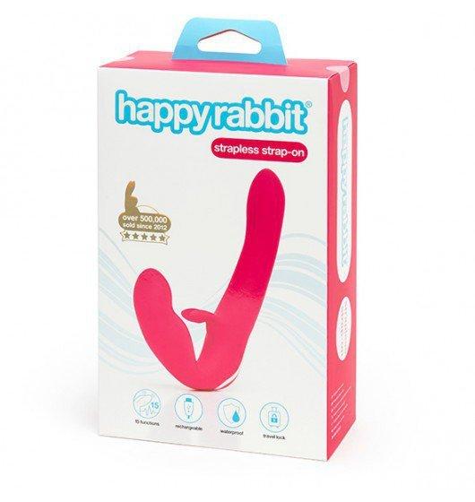Happy Rabbit Strapless Strap On Rabbit Vibe Pink
