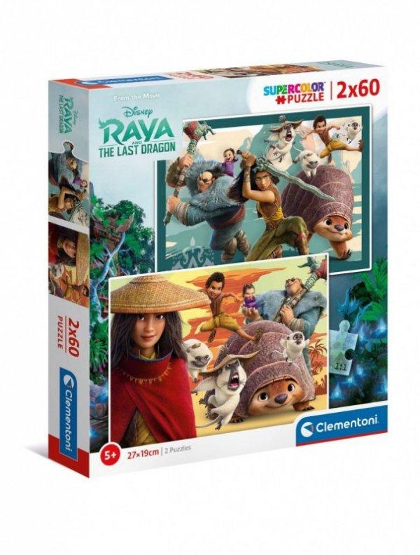 Puzzle 2x60 elementów Super Kolor Raya and The Last Dragon
