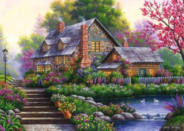 Puzzle 1000 elementów Romantyczny domek na wsi
