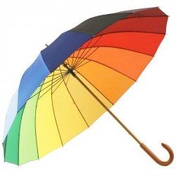 Tęcza - parasol długi z drewnianą rączką