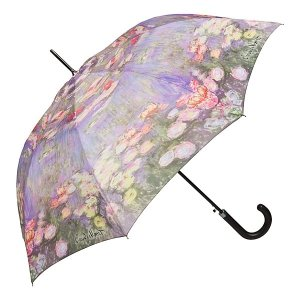 Claude Monet Lilie wodne - Parasol długi ze skórzaną rączką