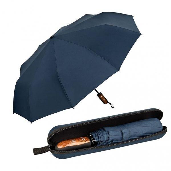 Clark granatowy elegancki parasol 10-drutowy w etui Von Lilienfeld