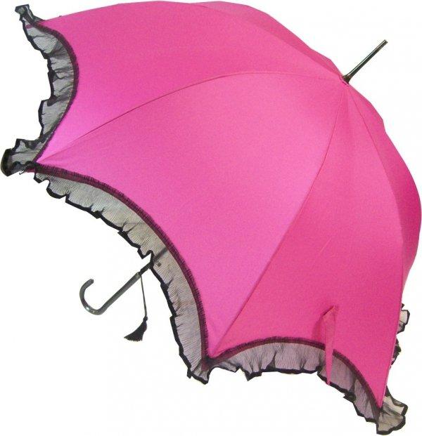 Isabella różowa elegancka parasolka z falbaną