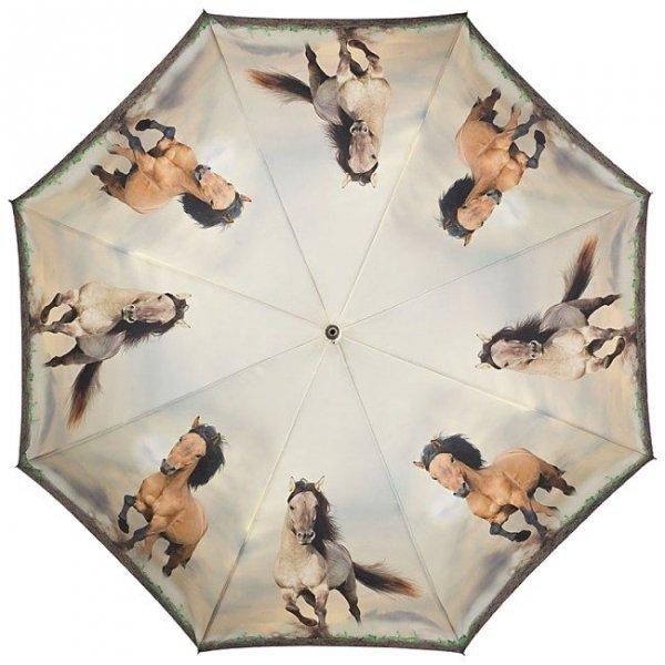 Dzikie konie - parasol długi ze skórzaną rączką