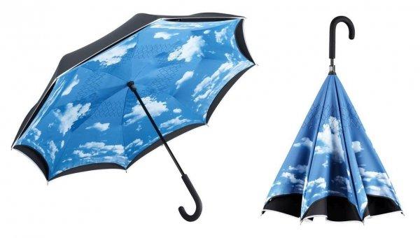 FARE®-Contrary Sky chmury parasol odwrotny z odblaskową lamówką