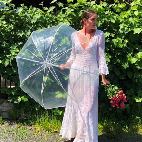 Mirabel parasolka przezroczysta głęboka biała