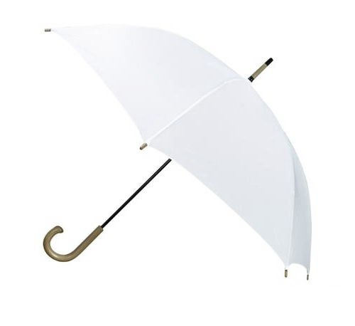 Biały parasol z drewnianą rączką