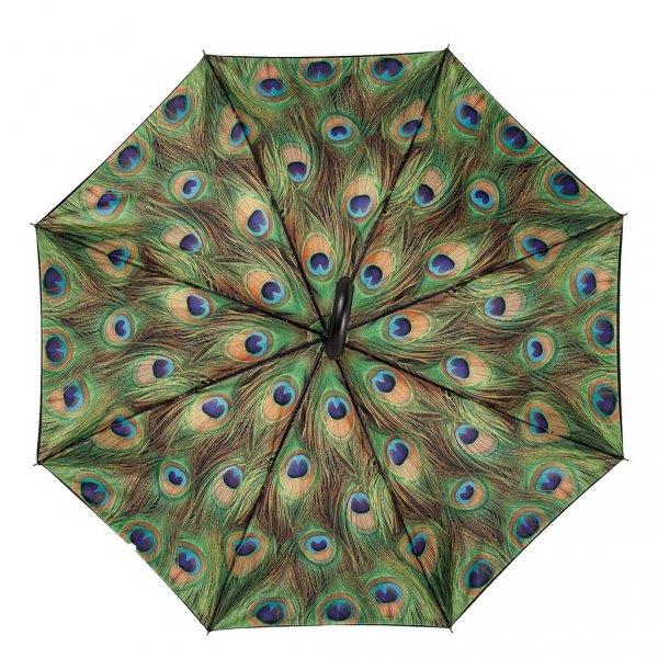 Pawie oczko - parasol z podwójną czaszą i skórzaną rączką