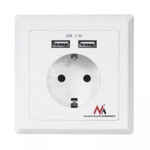 Gniazdko prądowe Maclean, Do zabudowy, 2xUSB, USB 5V, 2.4A, 86x86mm, Niemieckie, MCE237