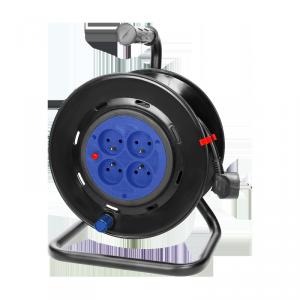 Przedłużacz bębnowy, 4 gniazda 2P+Z, kabel PVC H05VV-F 3x1,5mm?, długość 25m, STAŁE GNIAZDA, termik, przesłony torów prądowych.