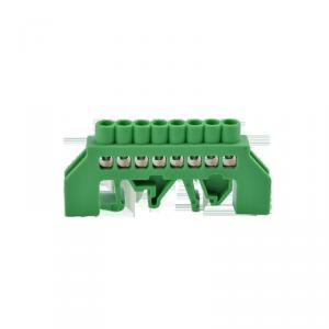 Listwa zaciskowa izolowana PE, 8 przewodów, zielona