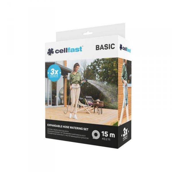 Zestaw zraszający z wężem rozciągliwym Cellfast Basic 15m