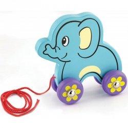 Viga drewniany słoń do ciągnięcia na sznurku