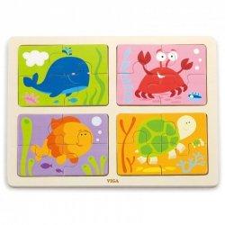 VIGA Drewniane Puzzle Zwierzęta Morskie 4w1
