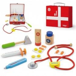 Viga Drewniany zestaw małego lekarza w walizce