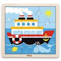 VIGA Poręczne Drewniane Puzzle Statek 9 elementów